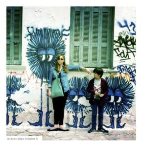 Athens with kids street art in Keiramikos