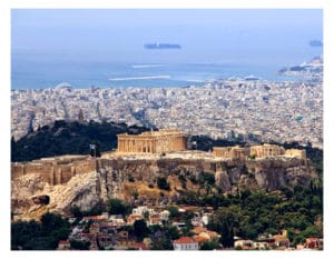 Athens with kids view from Lycabettus Mount
